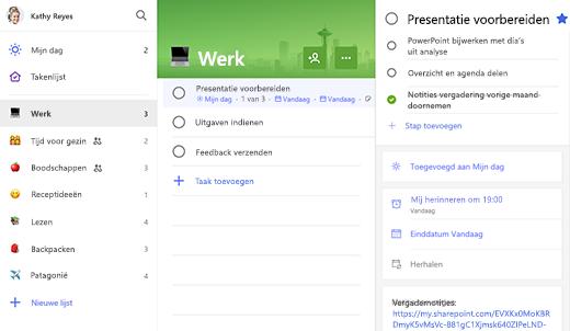 Schermafbeelding van de takenlijst met voorbereiding voor presentatie geopend in de detailweergave
