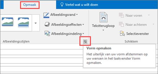Schermopname van de gebruikersinterface van Outlook met het tabblad Opmaak waarop de optie Vorm opmaken is geselecteerd.