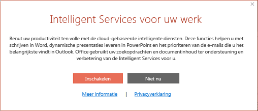Dialoogvenster om Office Intelligent Services in te schakelen