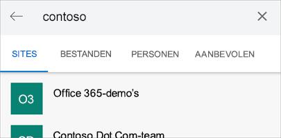 Schermafbeelding van zoekresultaten