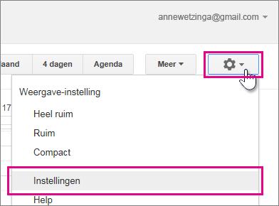 google agenda - instellingen - instellingen