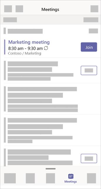 De app vergaderingen in teams waarin een vergadering wordt gemarkeerd die op dit moment plaatsvindt en een knop voor deelname heeft.