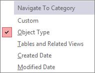 Navigatiedeelvenster naar menu categorie navigeren