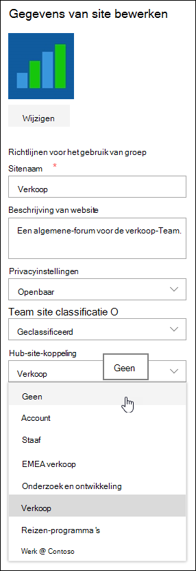 Een site loskoppelen van een share point-hubsite