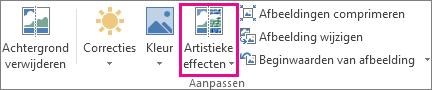 Artistieke effecten in de groep Aanpassen op het tabblad Opmaak onder Hulpmiddelen voor afbeeldingen