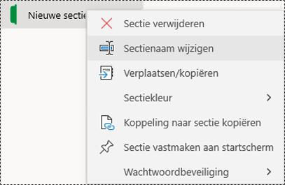 Schermafbeelding van het snelmenu voor het wijzigen van de naam van een sectietabblad in OneNote voor Windows 10.