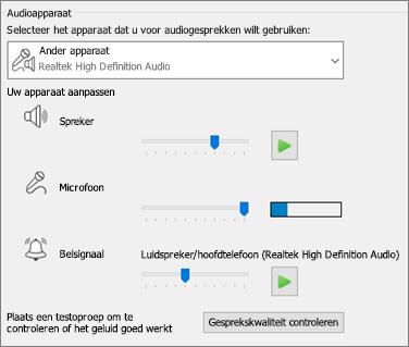 Aangepaste instellingen (luidspreker, microfoon, belsignaal) voor audioapparaat