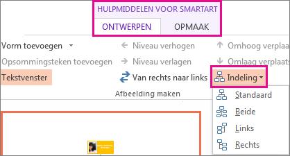 De indelingsopties voor een SmartArt-organigram