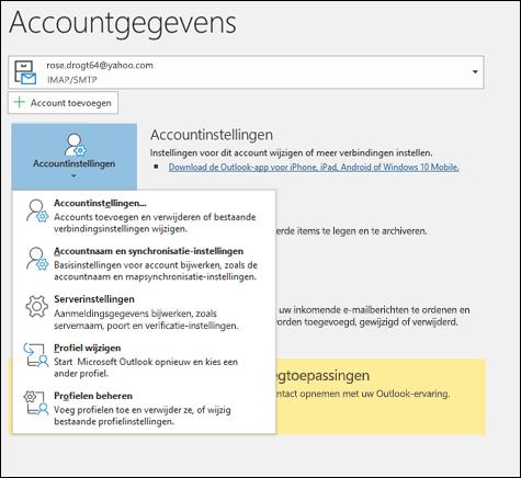 U kunt meerdere typen accountinstellingen wijzigen in Outlook.