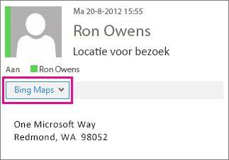Outlook-bericht waarin app Bing Maps wordt weergegeven