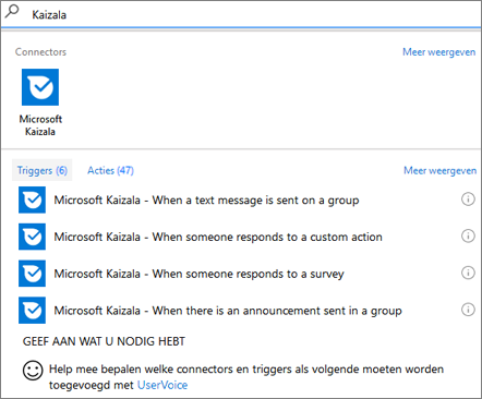Schermafbeelding: Typ Kaizala en selecteer Microsoft Kaizala - wanneer iemand op een enquête reageert