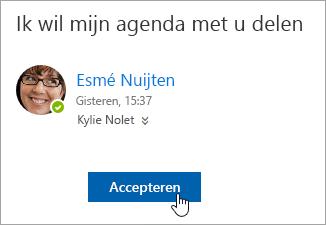 Schermafbeelding van de knop Accepteren in een e-mailbericht over een gedeelde agenda.