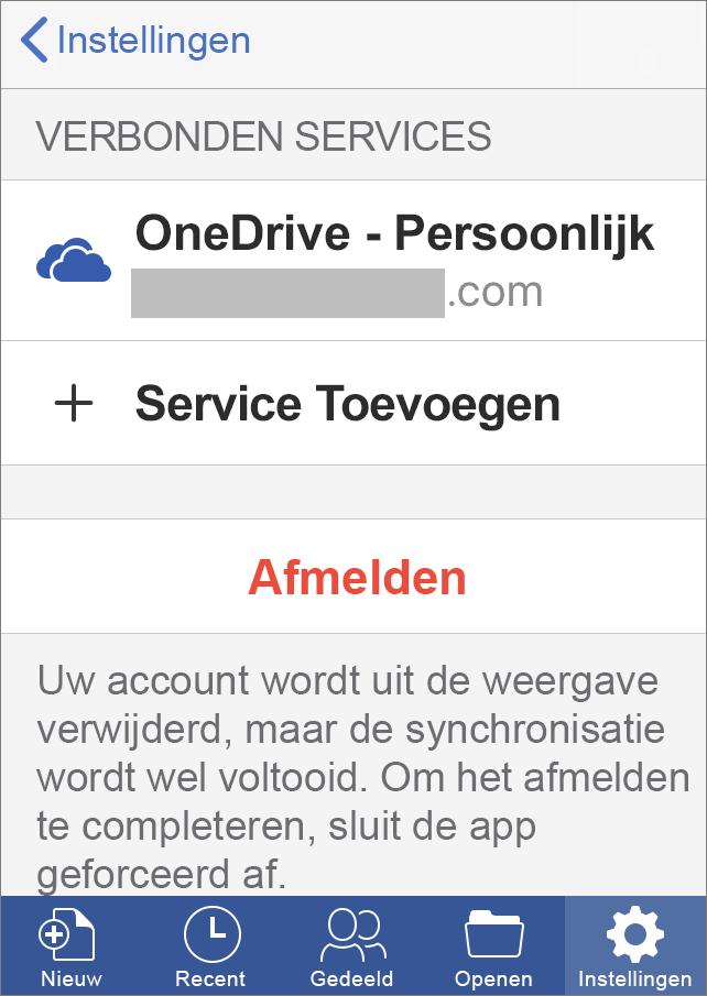 Toont de optie Afmelden in Office voor iOS