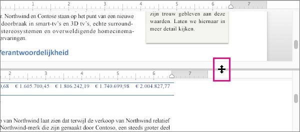 U kunt het venster splitsen om verschillende delen van hetzelfde document weer te geven, maar ook verschillende weergaven.