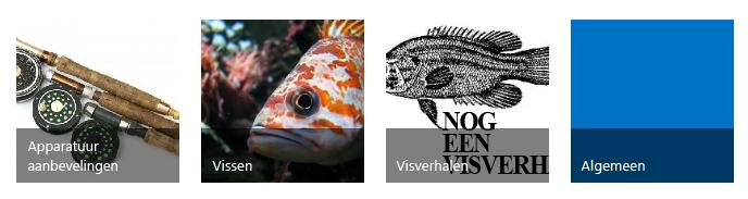 Vier categorietegels, met ieder een titel en een afbeelding over vissen
