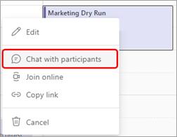 Chatten met deelnemers is de optie verzenden