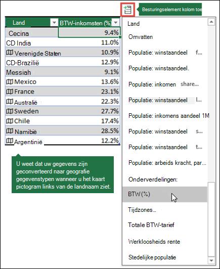 Een kolom toevoegen aan een geografie gegevenstype door een eigenschap te selecteren uit de knop kolom toevoegen.