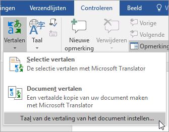 Toont in het menu Vertalen de optie Vertaling instellen voor document