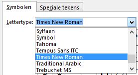Bepaal het lettertype op het tabblad Symbool.