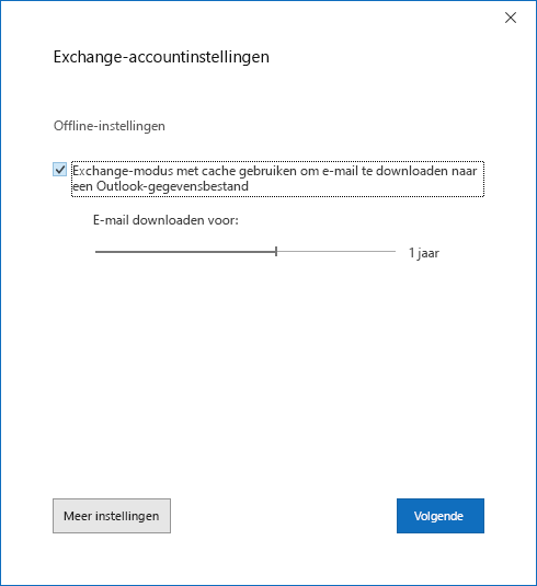 Dialoog venster account instellen, pagina Exchange-account instellingen.