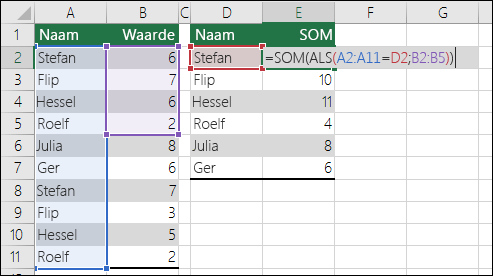 Voorbeeld van een matrixformule met een #N/B-fout door niet-overeenkomende bereikverwijzingen.  De formule in cel E2 is {=SOM(ALS(A2:A11=D2,B2:B5))} en moet worden ingevoerd met Ctrl+Shift+Enter.