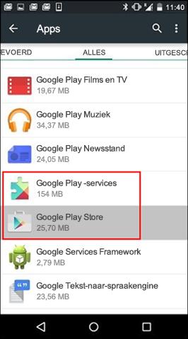 Cache wissen van Google Play Store-app
