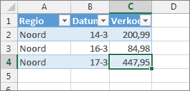 selecteer de laatste cel en druk op tab om een nieuwe tabelrij toe te voegen