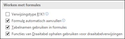 Bestand > Opties > Formules > Werken met formules > Verwijzingstype R1K1