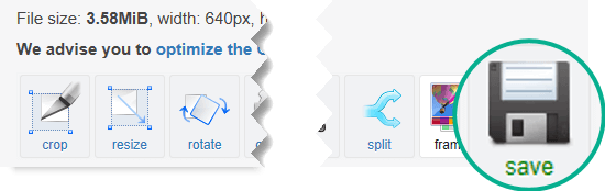 Selecteer de knop Save (Opslaan) om de aangepaste GIF-animatie op uw computer op te slaan