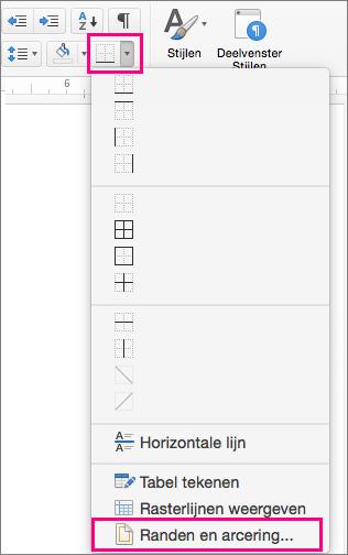 Op het tabblad Start zijn het pictogram Randen en Randen en arcering gemarkeerd.