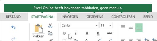 Tabbladen Start, invoegen, gegevens, weergave in Excel voor het web