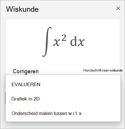 Voorbeeld van vergelijking met oplossingsopties voor derivaten en integralen