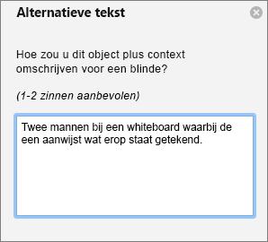 Deelvenster met alternatieve tekst voor het alternatieve tekst toevoegen aan een afbeelding in Outlook