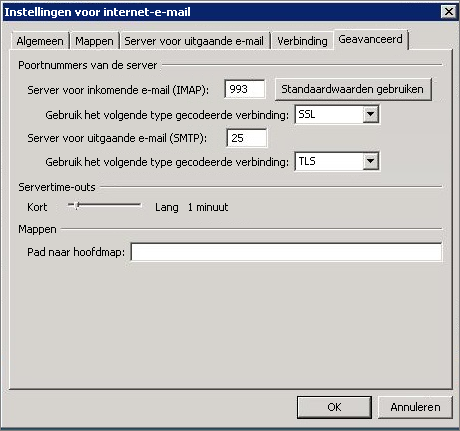 Schermafbeelding van het tabblad Geavanceerd in het dialoogvenster Instellingen voor internet-e-mail.