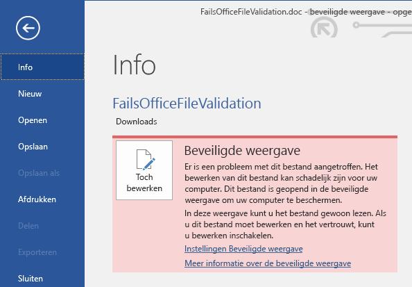 Backstage-weergave voor fout bij valideren van bestanden in beveiligde weergave