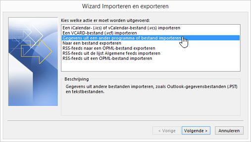 wizard voor importeren en exporteren - importeren uit een ander programma of bestand