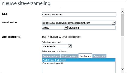 Bovenste deel van het dialoogvenster Nieuwe siteverzameling met Portal voor publiceren gemarkeerd