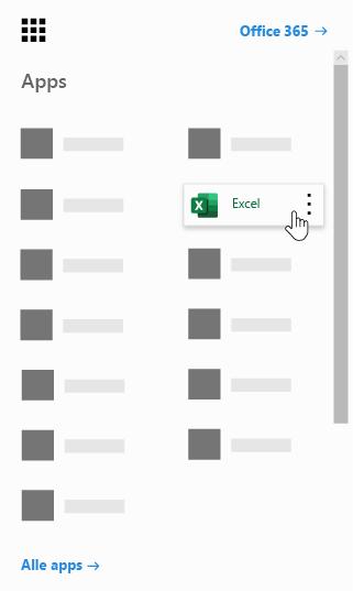 Het startprogramma voor Office 365-apps, met de Excel-app gemarkeerd