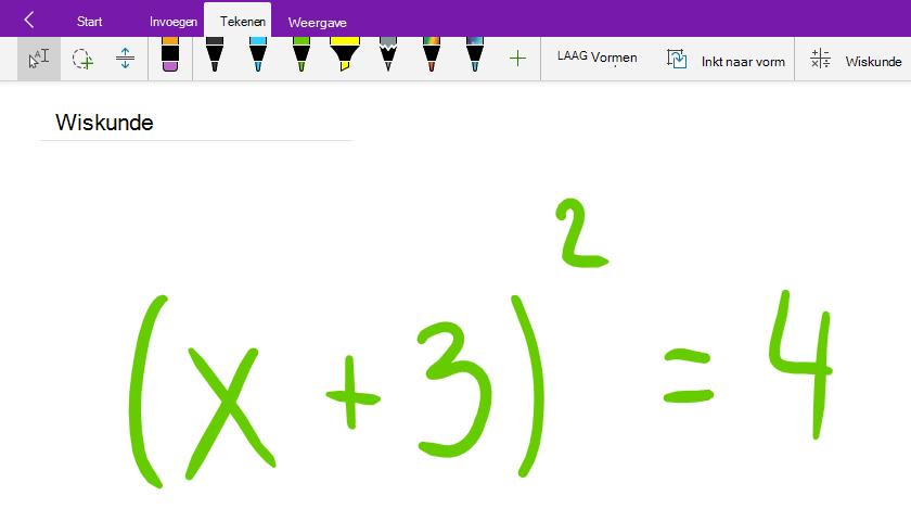 Een wiskundige vergelijking schrijven in OneNote voor Windows 10