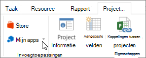 Schermafbeelding van een gedeelte van het tabblad Project op het lint met een cursor die wijst naar Mijn Apps. Mijn Apps naar een recent gebruikte app selecteren, al uw apps beheren of gaat u naar de Office Store voor nieuwe apps kiest.