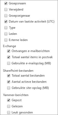 Office 365-groepsrapport - kolommen kiezen