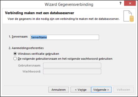 Wizard Gegevensverbinding > verbinding maken met de server