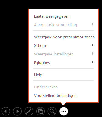 Hiermee wordt het menu Weergave voor presentator in PowerPoint weergegeven