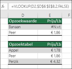 Opzoekwaarde bestaat niet  Formule in cel E2 is =VERT.ZOEKEN(D2,$D$6:$E$8,2,ONWAAR).  De waarde Banaan is niet gevonden, dus de formule retourneert een fout #N/B.