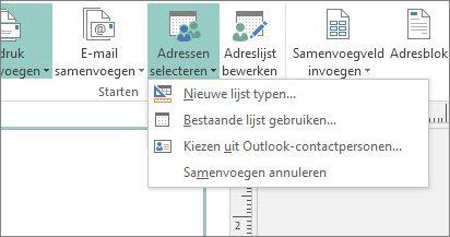 Opties voor de knop Verzendlijsten - Geadresseerden selecteren