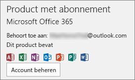 Geeft het e-mailaccount weer dat aan Office is gekoppeld