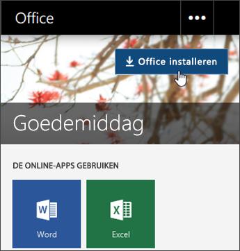 Schermafbeelding met knop Office installeren