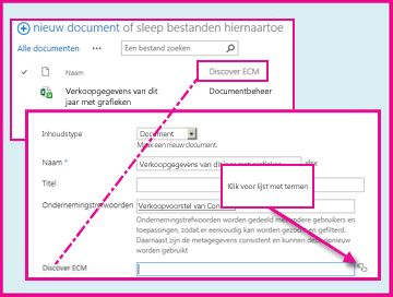 Met de kolom Beheerde metagegevens kunnen gebruikers vooraf gedefinieerde waarden selecteren en deze invoeren in de kolom met de documenteigenschappen.