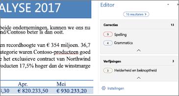 Deelvenster Editor met problemen met de spellingcorrectie die in een geopend Word-document moeten worden opgelost