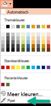 De opdracht pipet bevindt zich in het menu kleur in het deelvenster achtergrond opmaken.